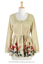 Floral embellished cotton knit peasant top women cotton dress