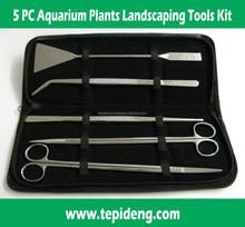 5 Pieces Aquarium Plant Tools Set containing Scissors Tweezers and Leveler