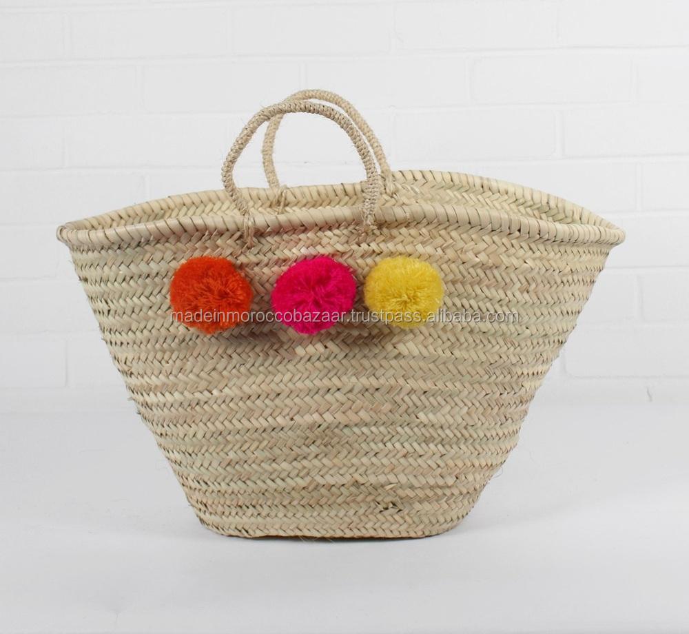 Handmade Market Baskets : Elegant moroccan handmade pom poms french market baskets