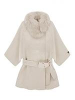 Elegant Belted Faux Fur Collar Warm Winter Cape Coats White