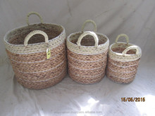 New Design!!! Set of 3 Round Water Hyacinth Basket/ Storage Basket With Handles From Vietnam With Good Price