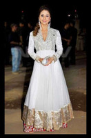 Exclusive Latest Designer Urmila Matondkar Style White Anarkali Dress/Salwar Kameez