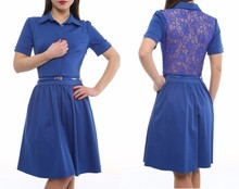 office style dresses with lace back made in Turkey