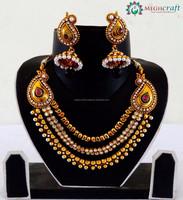 Indian pearl bridal jewelry set - Wholesale Designer one gram gold bridal jewelry - Antique Full bridal jewelry set