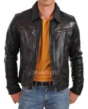 Classic Mens Premium Brown Biker Motorcycle Leather Jacket
