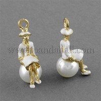 Lady Alloy Enamel Pendants, with ABS Acrylic Pearl Beads, Golden, White, 29x14x10mm, Hole: 3mm