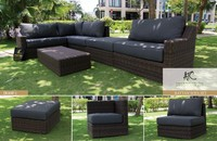 Modern wicker poly rattan sofa L shape garden furniture