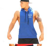 Round Neck Sportswear Blank mens gym stringer pullover tank tops hoodie hoody with hood