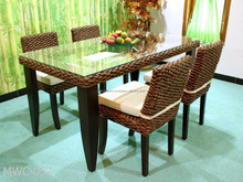 Interior Decor Dining Set - Classic Rattan Dinning table and chairs (Hand woven by wicker,hyacinth & wooden frame )