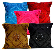 A Set of 5pcs Multi Embroidered Mirror Work Ethnic Pillow Throw Cushion Covers