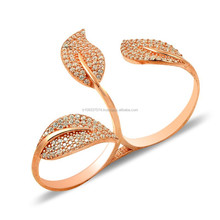 Rose Gold P. 925K Sterling Silver Knuckle Double Pave Leaf Ring