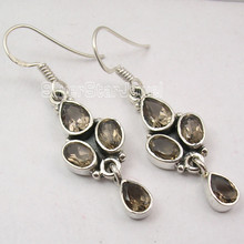 925 Solid Silver Sparkling SMOKY QUARTZ FACETTED 4 STONE Earrings 4 CM OXIDIZED