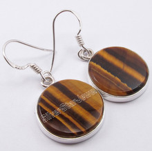 925 Sterling Silver BROWN TIGER'S EYE Round Flat Gemstones Earrings 1 3/8 inches