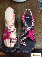 Dobbytex DBTS9 Pink White Twist Handmade rope Sandals/Shoes Hill tribe / Hmong / Summer / African