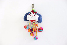 Handmade Cotton Little Dog Keychain Fair Trade from Thailand - Red