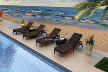 Resin wicker rattan sunbed swimming pool- outdoor sun lounger furniture