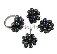 Natural Freshwater Pearl Jewelry Sets pendant & finger ring & earring dark purple 5-6mm Hole:Approx 2x6mm Size:8 Sold By Set
