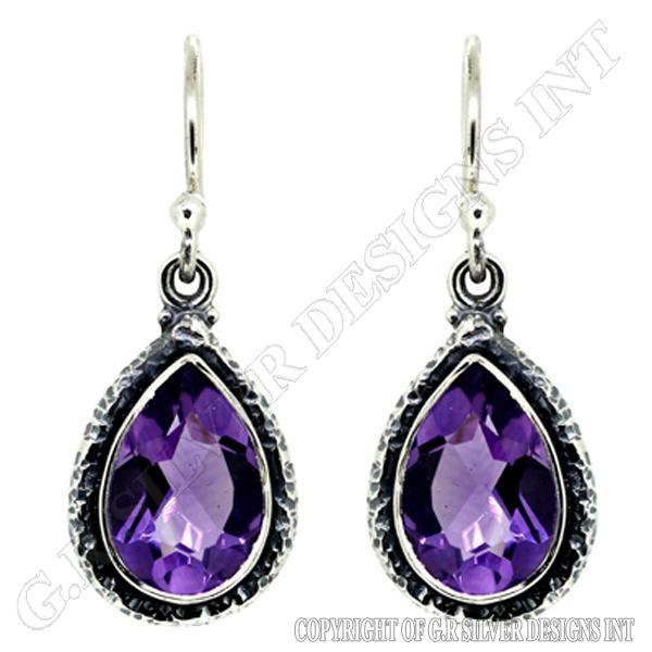 amethyst earrings sterling silver earrings jewelry