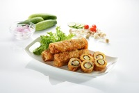 Asian premiem chicken salted egg spring roll halal dish meal 5 star roll
