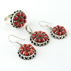Rare Natural Coral Bezel Setting 925 Sterling Silver Jewellery Set, Silver Jewelry, Silver Jewelry India
