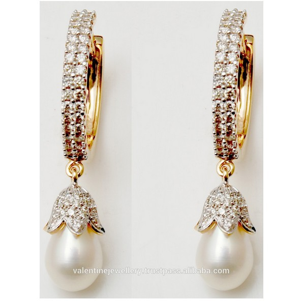 Diamond Pearl Earrings Designs Pretty Pearl Designer Diamond