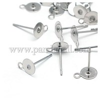 304 Stainless Steel Flat Round Blank Peg & Post Ear Studs Findings, 12x8x8mm, Hole: 1mm, Pin: 0.4mm