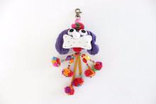 Handmade Cotton Little Dog Keychain Fair Trade from Thailand - Purple