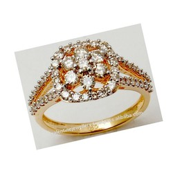 Fancy Prong Setting Cluster Gold Ring Design