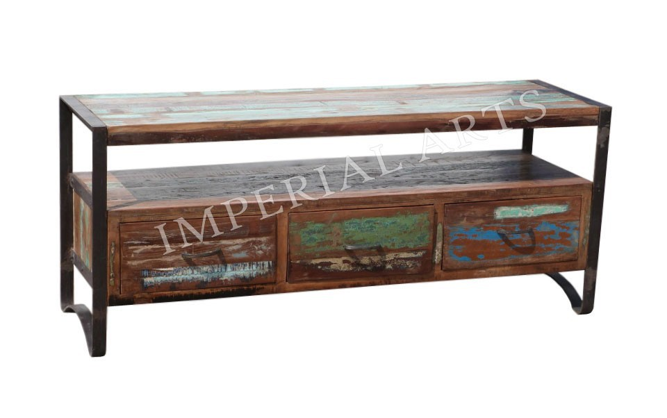 industrial furniture iron wood tv cabinet with 3 drawer