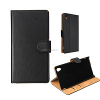 High Qualtiy Black Magnetic Flip Wallet Card Cover Stand Skin For Sony For Xperia M4 Aqua Leather Case Shell Pouch