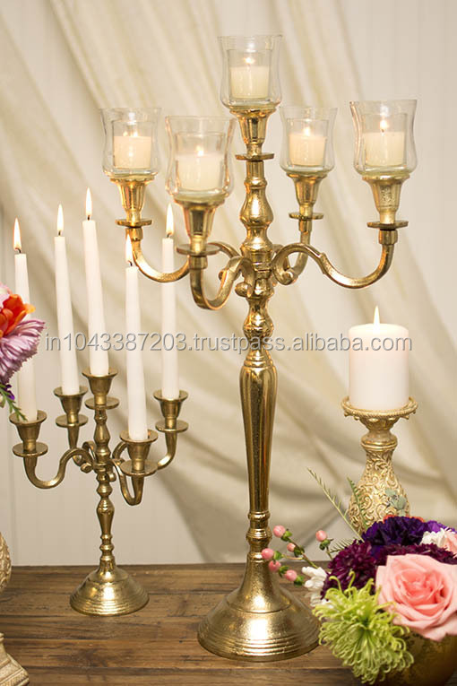 Hot wedding gold candelabra new trend