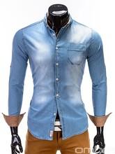 OMBRE Fashionable slim fit washed blue denim patterned men's shirt long sleeves suit blazer men clothing wholesale