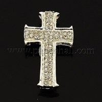 Cross Alloy Rhinestones Beads, Silver, 26x16x6mm, Hole: 2mm RB-N015-01S