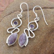 Lavendra jade y amatista Cut gemstone, venta al por mayor 925 pendientes, joyas de piedras preciosas