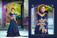 Glamours pure bamber georgette long anarakali nevy blue net micro velvet salwar suit with fancy work dupatta