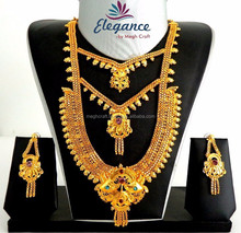 2015 WHOLESALE GOLD PLATED BRIDAL JEWELRY-SOUTH INDIAN LONG RANI HAAR SETS-GOLD PLATED JEWELLERY ONLINE WHOLESALE
