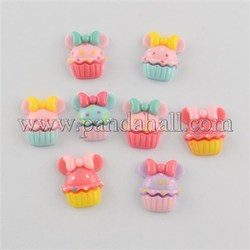 Scrapbook Embellishments Flatback Cute Cupcake with Bows Plastic Resin Cabochons, Mixed Color, 20x16x5mm