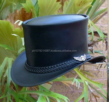 2015 FASHION Have one to sell? Sell now BLACK LEATHER AUSTRALIAN HAND CRAFTED STEAMPUNK TOP HAT WITH SKULL WING BADGE FOR MENS