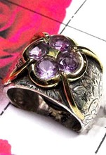 Indian Two Tone Jewelry Amethyst Ring Supplier