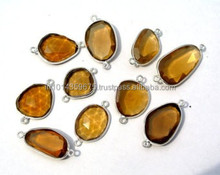Bulk AAA Honey Beer Quartz Blue Silver Bezel Gemstone Connector