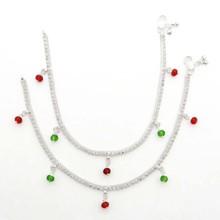 Designer Anklet/Bracelet Ethnic Silver Tone CZ India Wedding Women Jewelry Gift