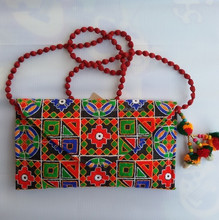 Indian Vibrant Attractive Colorful Handcrafted Embroidered Trendy Ladies Clutches Handbag