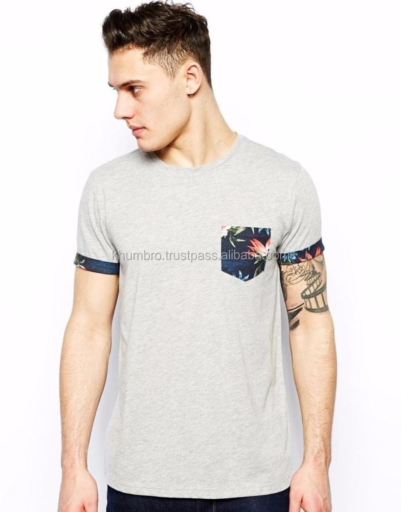 New York Floral Pocket Latest Design Skater Fit T Shirts