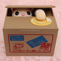 Stylish Cute Funny Lovely high quality Novelty For Cat Steal Coins Piggy Bank Cent Saving Money Box Pot Case Gift
