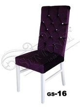 high back velvet wooden chair home furniture