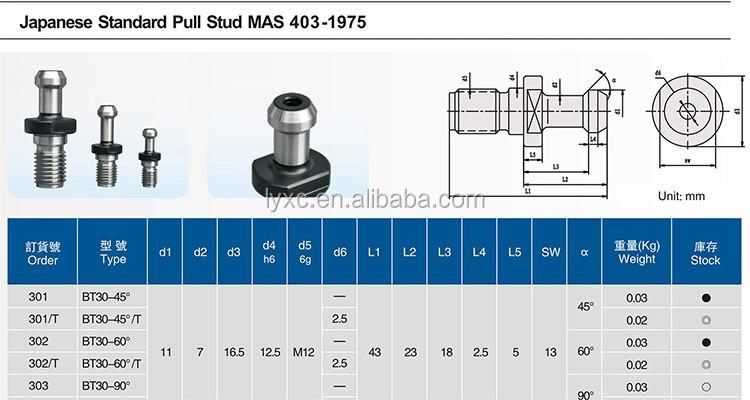 Cnc Milling Lathe Bt30 Bt40 Bt50 Pull Studs Retention Knob