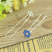 Bridal Party Wedding Decorative Hair Accessories Silver Color Iron Rhinestone Flower Hair Forks For Lady PHAR-S171-11