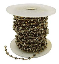 One Foot Jewellery Making Supplies Metal Beaded Gold Plated Rosary Gemstone Chain JS166