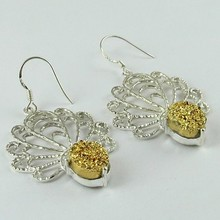 Victorian Style !! Yellow Druzy 925 Sterling Silver Earring, Silver Jewellery Manufacturer India, Wholesale Silver Jewellery