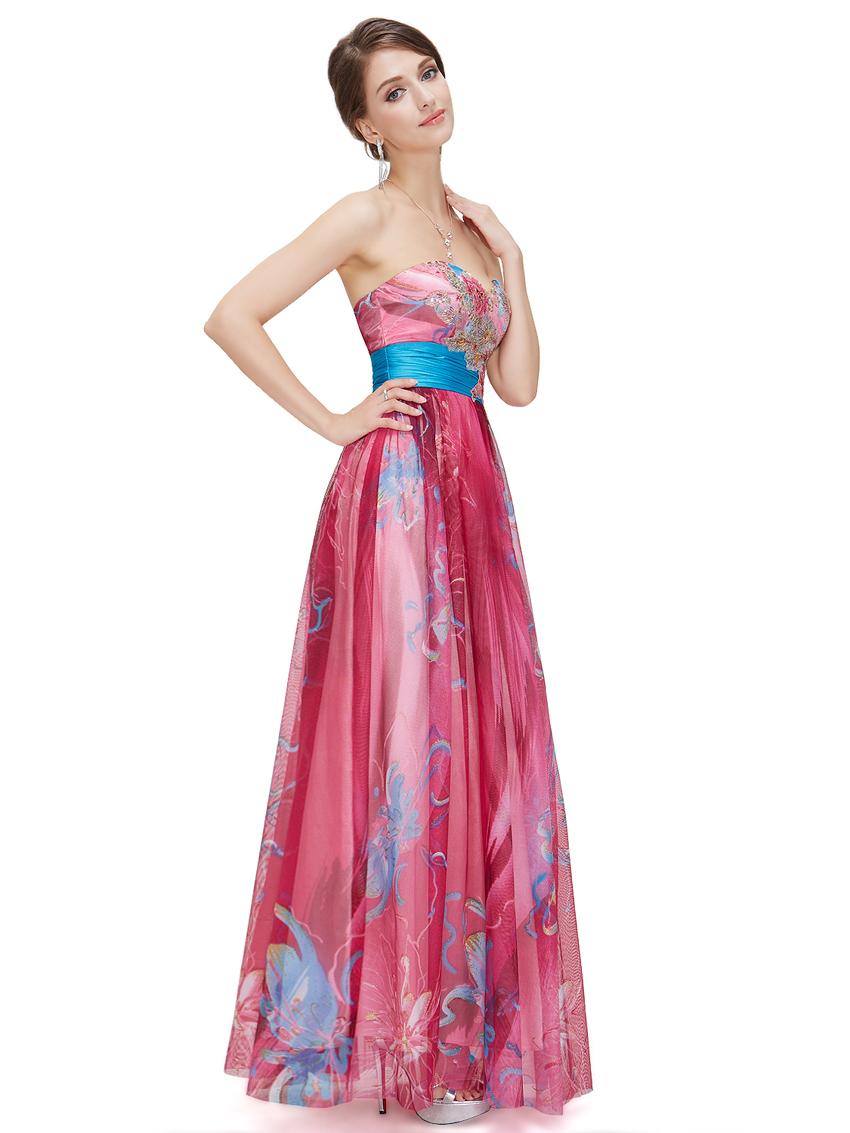 sin tirantes 09820 caliente de color rosa impresa vestido de baile ...